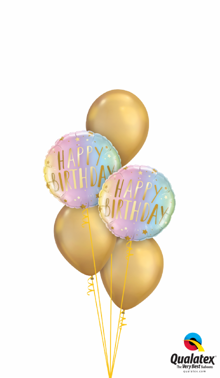Happy Birthday Ombre Gold Stars Bouquet